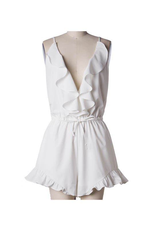 Sleeveless Ruffle Low Back Romper - White