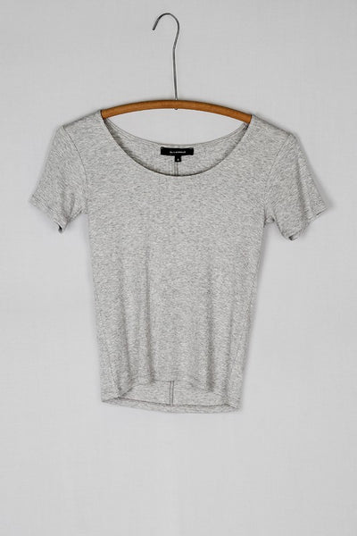 Simple Scoop Neck Ribbed Layering Tee Shirt - Heather Gray