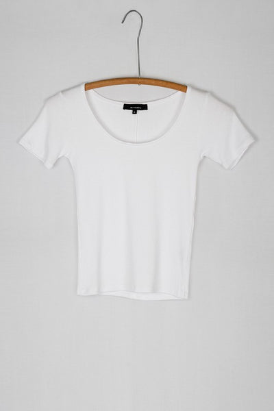Simple Scoop Neck Ribbed Layering Tee Shirt - White