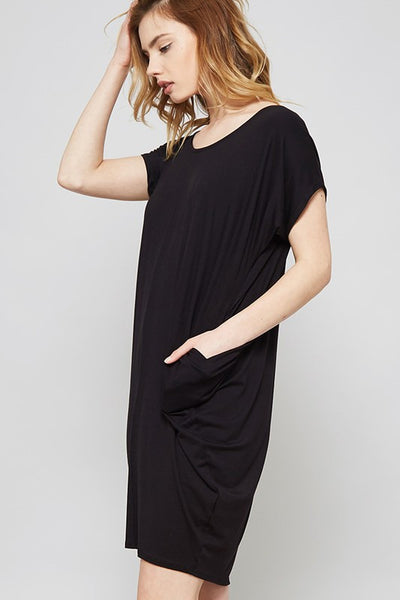 Short Sleeve Tee Cocoon Dress with Pockets - Black