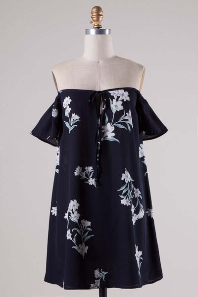 Floral Print Tie Front Off the Shoulder Dress - Navy/Multi