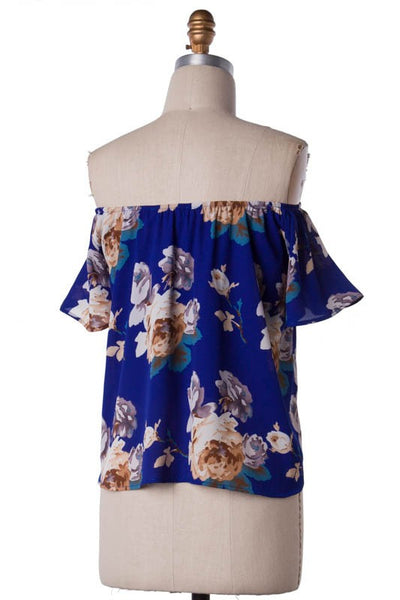 Floral Print High Low Off the Shoulder Blouse - Royal/Multi