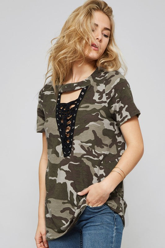 Lace Up Front Camoflauge Tee Shirt - Black/Multi