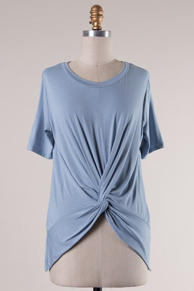 Short Sleeve Knotted Front High Low Tee - Dusty Blue