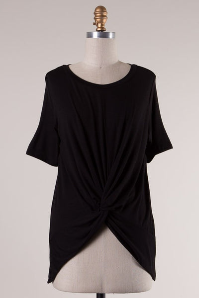 Short Sleeve Knotted Front High Low Tee - Black