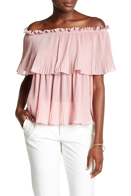 Pleated Off the Shoulder Blouse - Blush