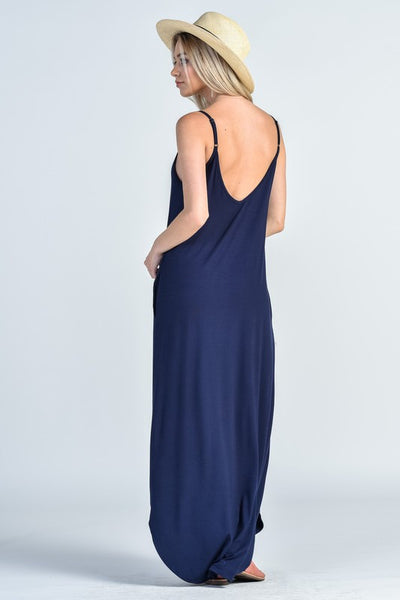 Spaghetti Strap Cocoon Maxi Dress - Navy Blue