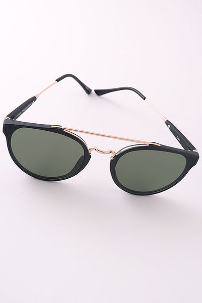 Thin Metallic Detail Aviator Tinted Sunglasses - Tortoise/Gold, Black/Gold or Black/Silver