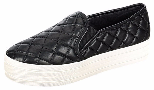 """Cyber"" Quilted Patent Faux Leather Slip on Flat Sneakers - Black"