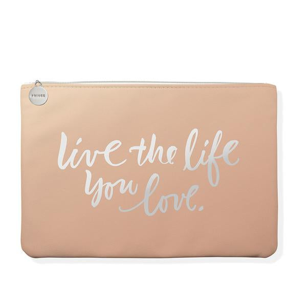 "Faux Leather Zipper Pouch - ""Live the Life You Love"""