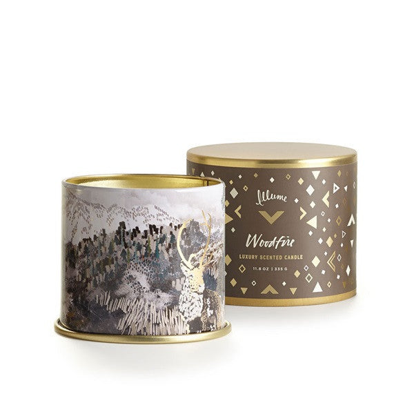 "Holiday Collection ""Woodfire"" Candles & Fragrance Items - Medium Radiant Metal or Demi Boxed Glass"