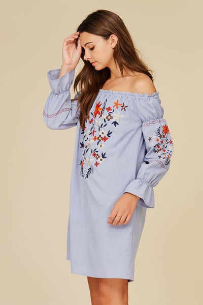 Long Sleeve Off the Shoulder Floral Embroidery Dress - Light Blue