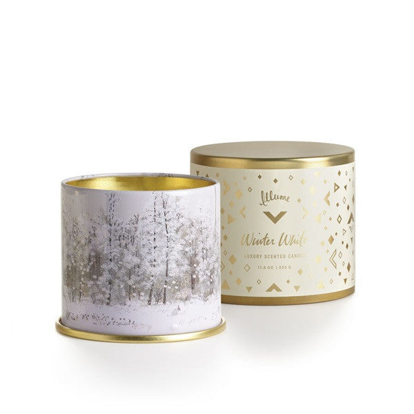 "Holiday Collection ""Winter White"" Candles & Fragrance Items - Large Vanity Tin, Medium Radiant Metal or Hand Cream"