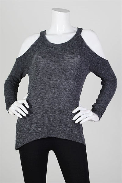 Cold Shoulder Side Zip Light Knit Sweater - Charcoal Gray
