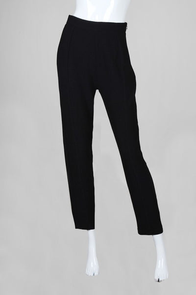 High Waisted Cigarette Leg Work Trousers - Black