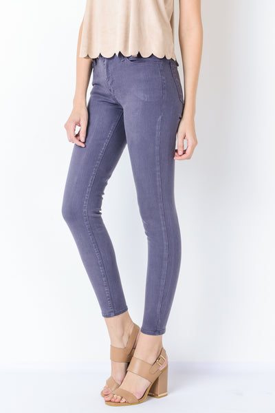 Mid Rise Soft Wash Ankle Skinny Jeans - Eggplant