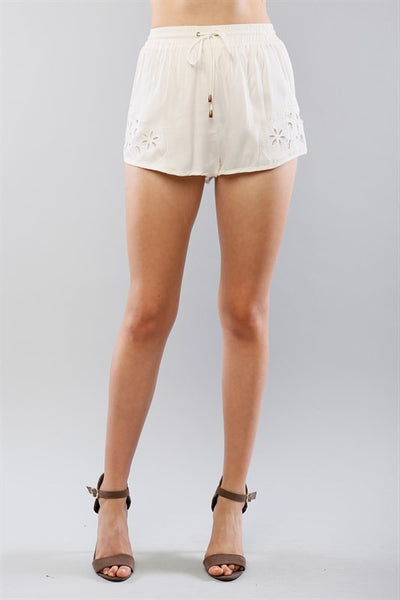 Floral Eyelet Trim Drawstring Shorts - White