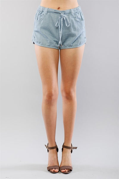 Light Weight Chambray Drawstring Shorts - Light Denim