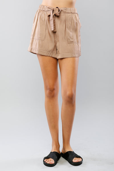 Tie Front Patch Pocket Utility Shorts - Khaki