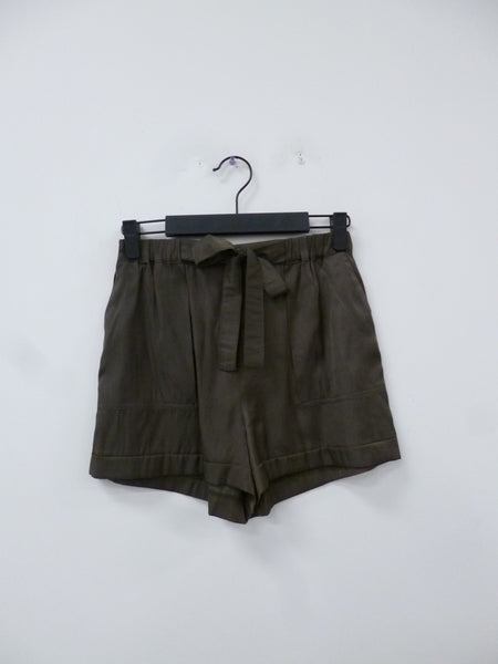 Tie Front Patch Pocket Utility Shorts - Olive
