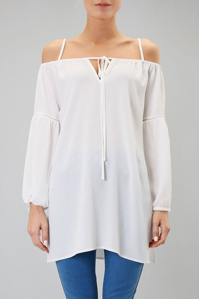 Off the Shoulder Neck and Sleeve Ties Tunic Top - Ivory