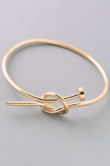Nail Knot Bangle Bracelet - Gold or Silver