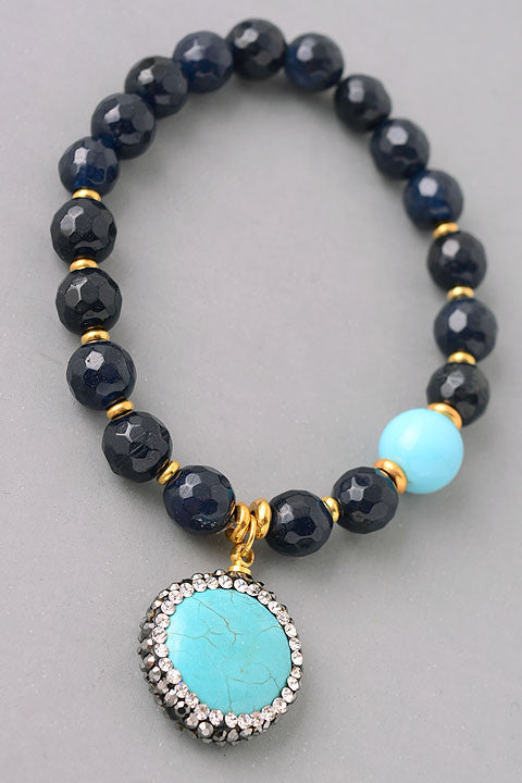 Flat Stone Pendant Beaded Bracelet - Gray/Pearl or Black/Turquoise