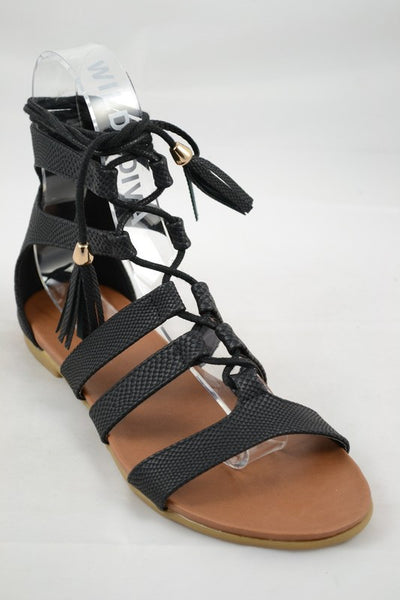 """Baya"" Snakeskin Lace Up Gladiator Flat Sandals - Black"