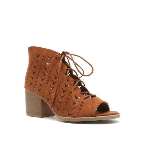 """Core"" Boho Patterned Cut Outs Lace Up Low Heel Open Toe Bootie Sandals - Camel"