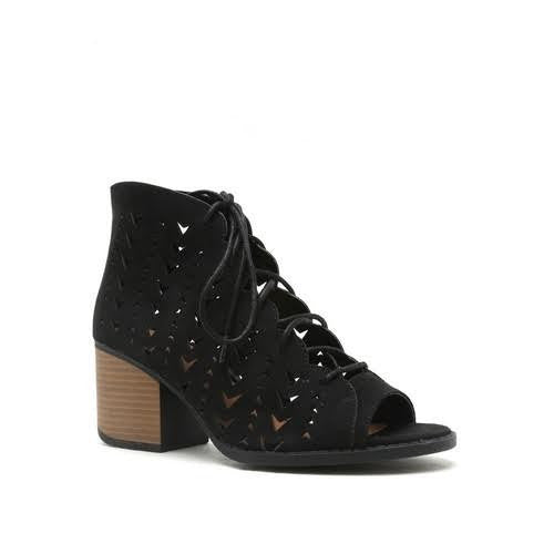 """Core"" Boho Patterned Cut Outs Lace Up Low Heel Open Toe Bootie Sandals - Black"