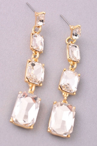 Triple Rhinestone Waterfall Earrings - Gold or Silver