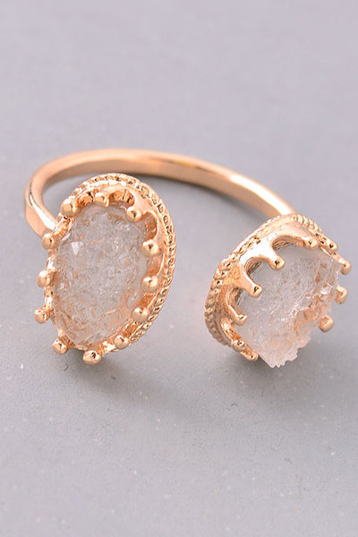 Framed Druzy Stone Ends Ring - Clear, Gold or Gunmetal