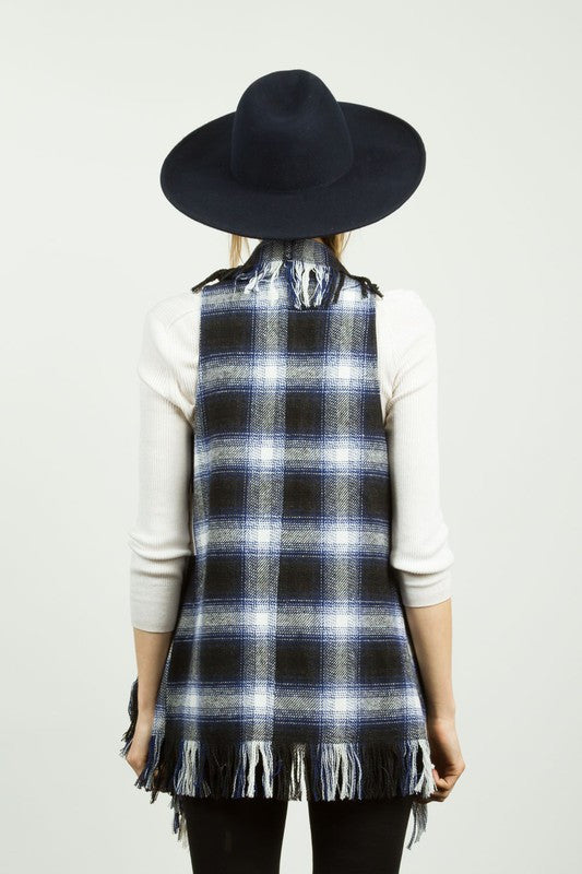 Fringe Trim Drapey Plaid Felt Vest - Navy/Black