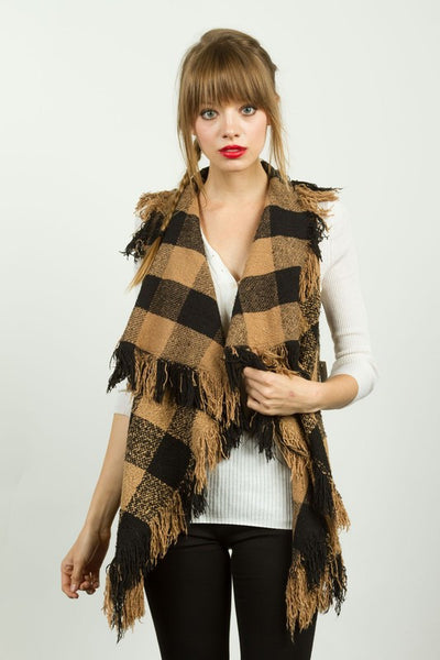 Fringe Trim Drapey Buffalo Plaid Felt Vest - Camel/Black