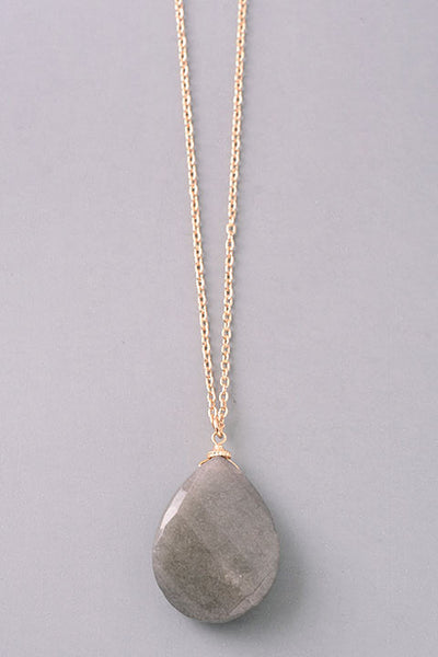Natural Stone Faceted Teardrop Pendant Long Necklace - Pink, Gray, Blue or Turquoise