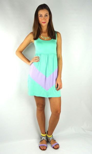 Sleeveless Chevron Short Dress - Mint/Lilac