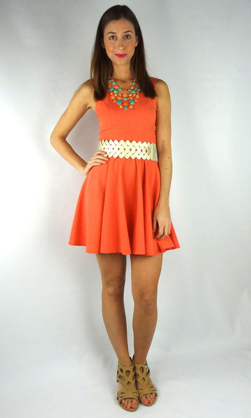 Cut Out Bow Back Dress - Coral