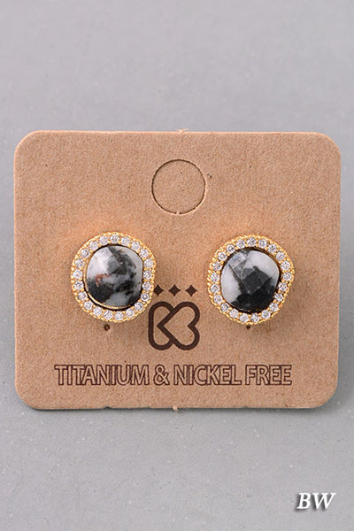 Bejeweled Dainty Natural Stone Stud Earrings - Black/White, Dark Gray or Mint