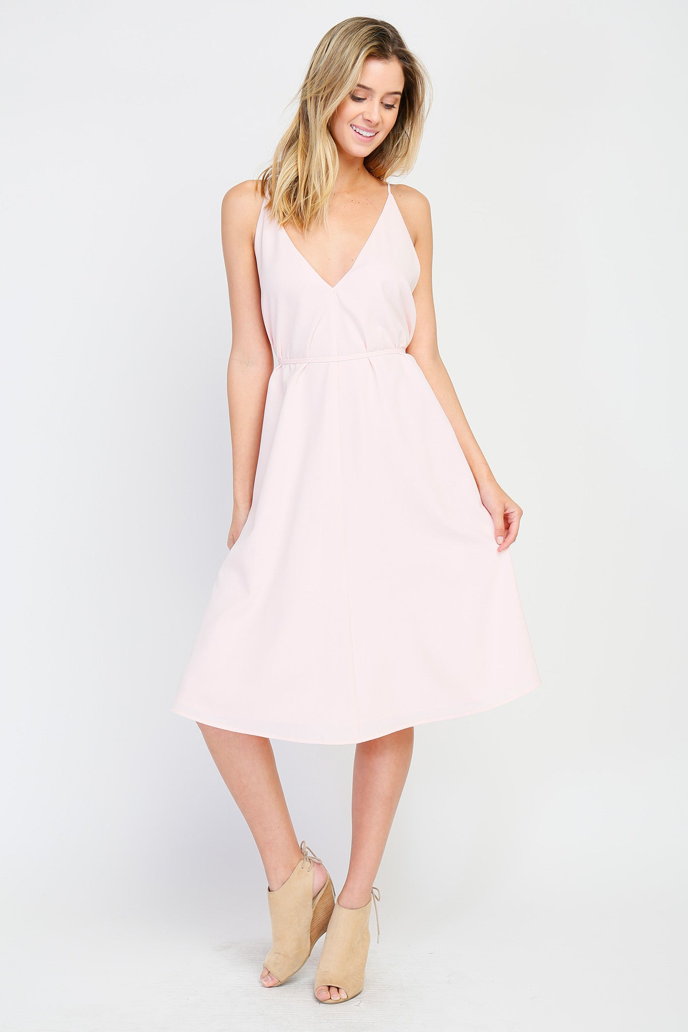 Sleeveless V-Neck and V-Back Tie Waist Midi Dress - Blush