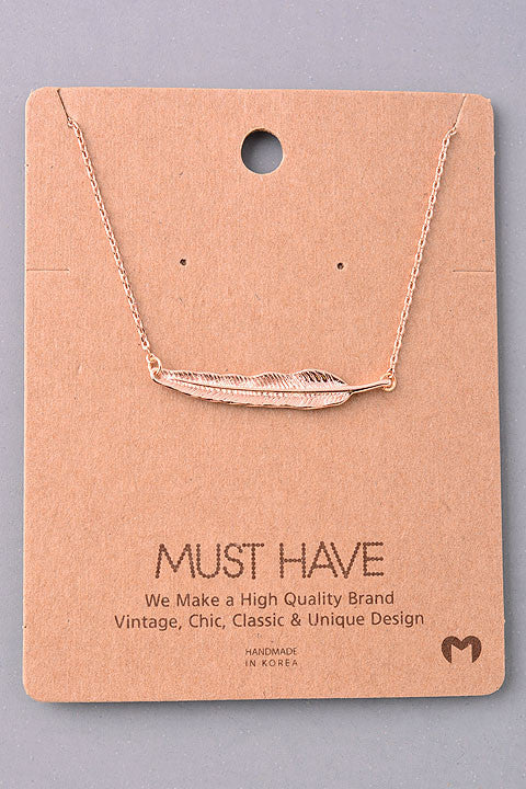 Dainty Sideways Feather Pendant Necklace - Gold, Silver or Rose Gold
