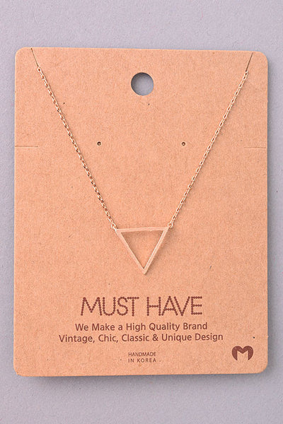 Dainty Open Triangle Pendant Necklace - Gold Silver or Rose Gold