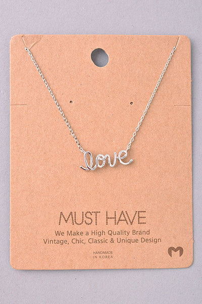 Dainty Love Script Pendant Necklace - Gold, Silver or Rose Gold