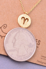 Dainty Circle Coin Aries Zodiac Symbol Necklace - Gold, Silver or Rose Gold