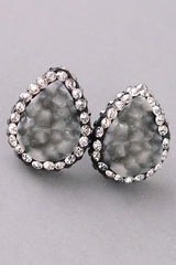 Rhinestone Trim Teardrop Stud Earrings - Gray or Multi