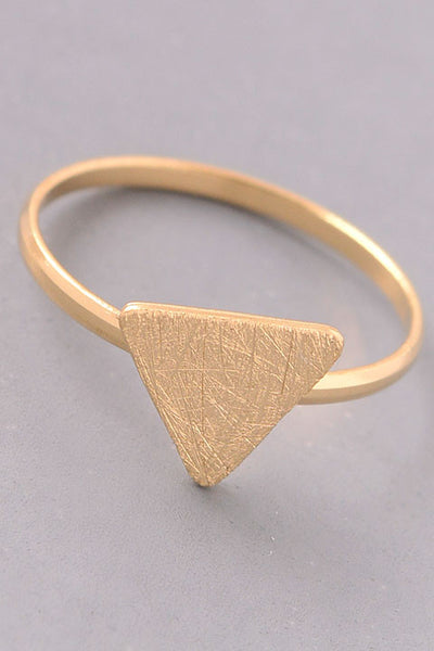 Brushed Metal Simple Triangle Ring - Gold, Silver or Rose Gold