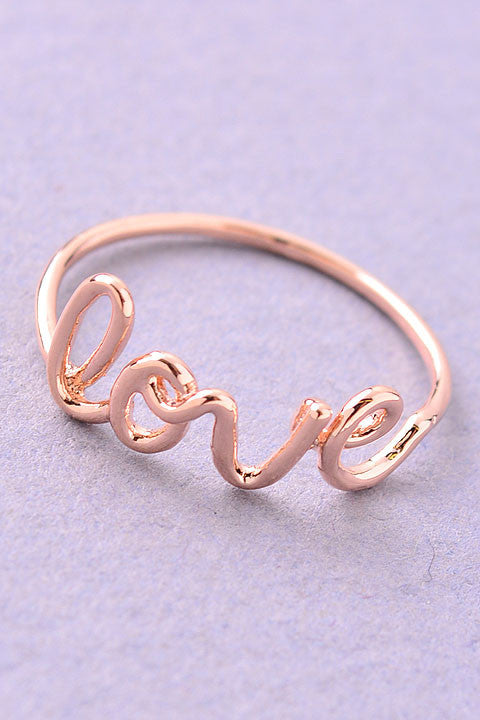 Simple Love Script Ring - Gold, Silver or Rose Gold