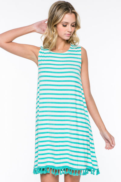 Sleeveless Striped Pom-Pom Trim Trapeze Dress - Mint/White