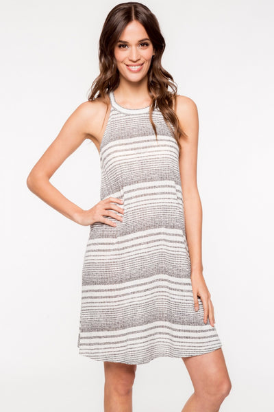 Sleeveless High Neck Multi Stripes Ribbed Swing Dress - Gray/White