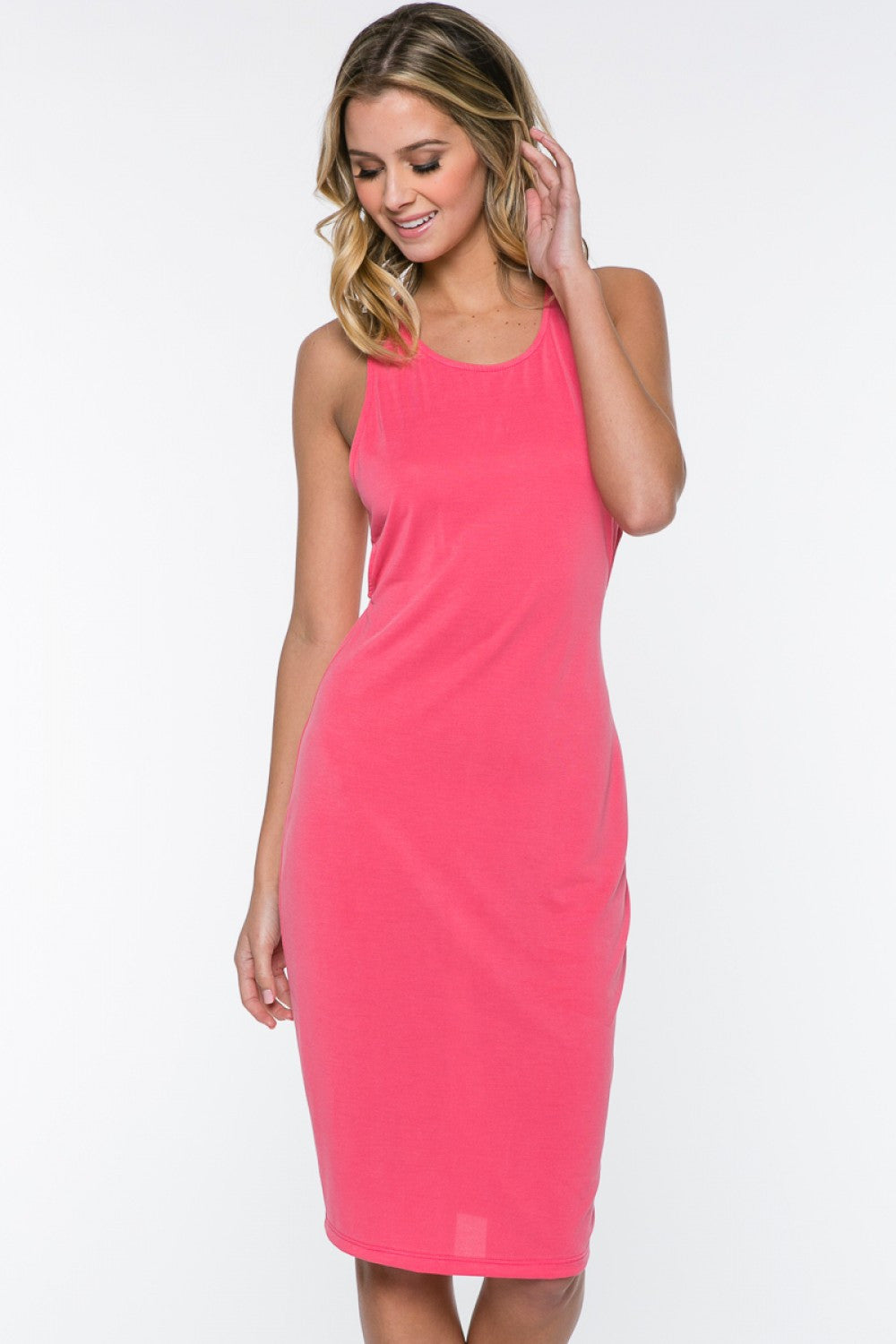 Sleeveless Brushed Jersey Side Cut Outs Midi Dress - Coral