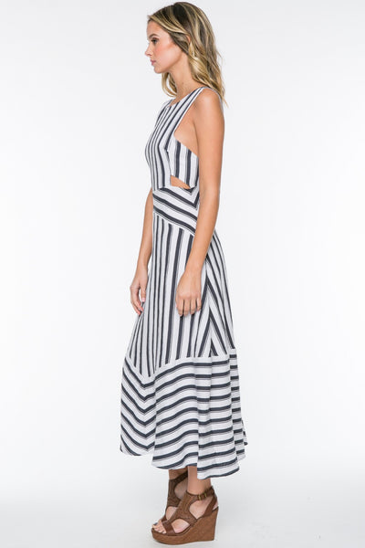 Sleeveless Striped Side Cut Outs Low Back Midi Dress - Navy/White